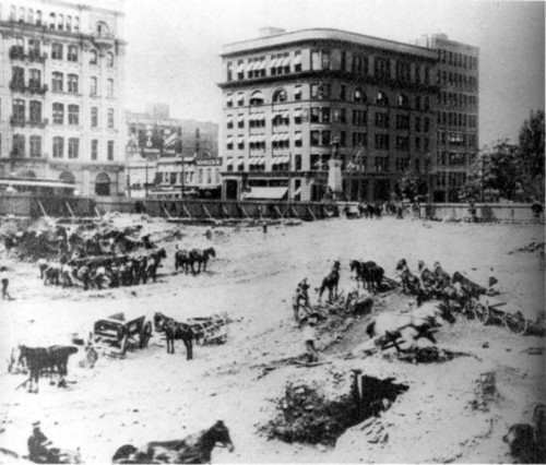 Photo courtesy Marriott Library Workers dig the foundations for Hotel Utah. Thursday is Hotel Utah's 100th anniversary.
