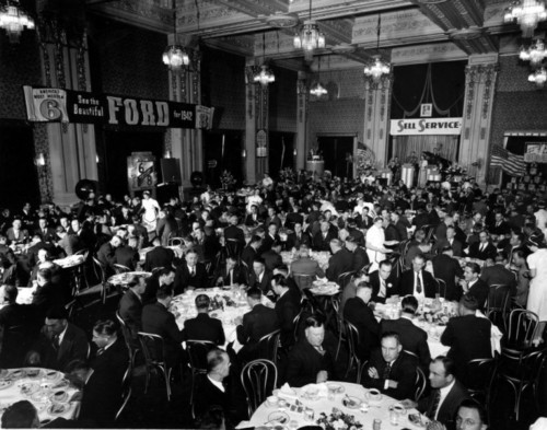 Photo courtesy Marriott Library The 1942 Ford Motor Convention at Hotel Utah. Thursday is Hotel Utah's 100th anniversary.