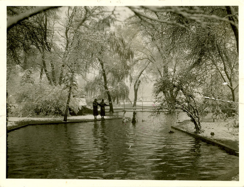 Two women feed geese at Liberty Park in 1936. Tribune file photo