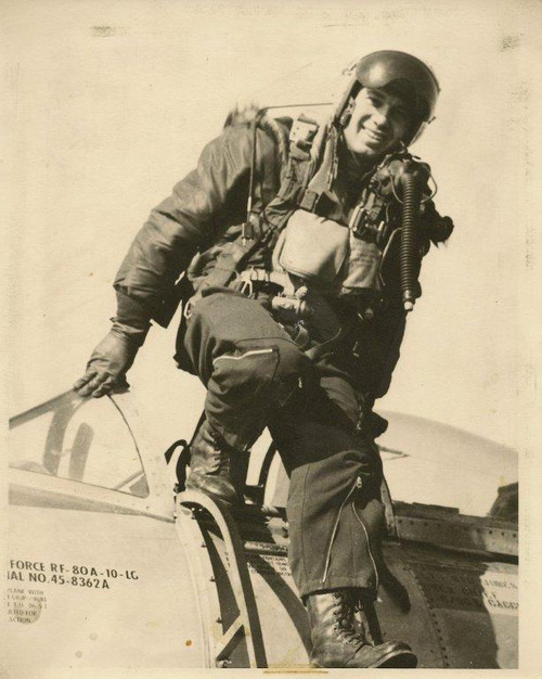 Ken Collins, who crashed near Wendover during a test flight of a secret spy plane, wears a high-altitude pressure suit as he exits the cockpit of a reconnaissance plane.  Courtesy photo Ken Collins
