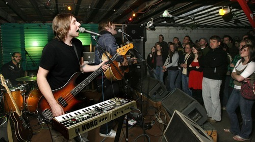 File photo  |  The Salt Lake Tribune From left, Eric Corson and John Roderick, of  The Long Winters, play Kilby Court in March 2007.
