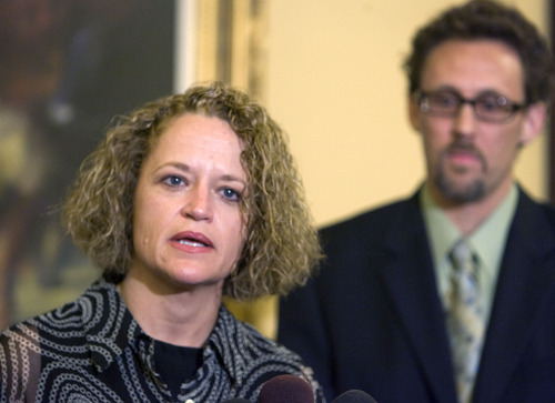 Al Hartmann  |  The Salt Lake Tribune Rep. Jackie Biskupski, D-Salt Lake City, Utah's first openly gay legislator, resigned Monday, June 13, from the Utah House of Representatives after serving for 12 years. House Minority Leader David Litvack is at right.
