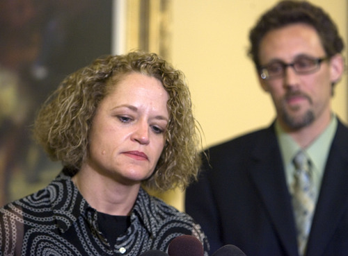 Al Hartmann  |  The Salt Lake Tribune Rep. Jackie Biskupski, D-Salt Lake, the first openly gay person to hold elected office in Utah, resigned Monday, June 13, from the Utah House of Representatives after serving for 13 years.  House Minority Leader David Litvack is at right.  She said that due to unforeseen circumstances she must move outside her district.