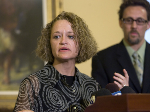 Al Hartmann  |  The Salt Lake Tribune Rep. Jackie Biskupski, D-Salt Lake City, Utah's first openly gay legislator, resigned Monday, June 13, from the Utah House of Representatives after serving for 12 years.  She said that due to unforeseen circumstances she must move outside her district. House Minority Leader David Litvack is at right.