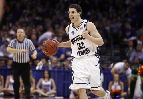Jim Urquhart  |  The Salt Lake Tribune  Jimmer Fredette is ecstatic after scoring 37 points in a double-overtime victory over Florida in the first round of the NCAA Tournament in 2010. The win propelled the Cougars to the second round of the NCAA tournament for the first time in 17 years.