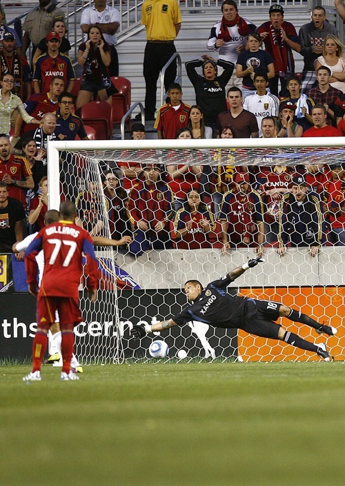 Djamila Grossman  |  The Salt Lake Tribune  Real Salt Lake plays D.C. United at Rio Tinto Stadium in Sandy, Utah, on Saturday, June 18, 2011.  RSL's goalie Nick Rimando (18) misses the ball, leading to a 1-1 final score in the second half.