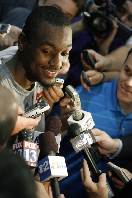 Francisco Kjolseth  |  The Salt Lake Tribune Connecticut guard Kemba Walker speaks with the media following a workout with the Utah Jazz on Wednesday, June 15, 2011, at their practice facility in Salt Lake City.