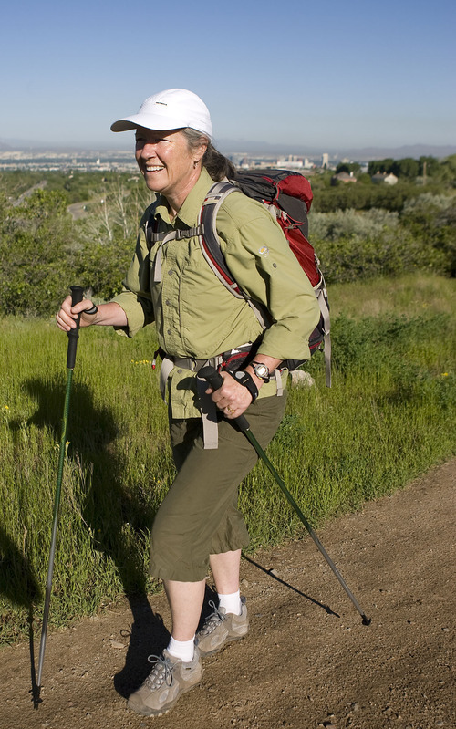 Al Hartmann  |  The Salt Lake Tribune Salt Lake City's Michele Straube takes a training hike with light backpack along the Bonneville Shoreline Trail.   She used to battle atrial fibrillation, a heartbeat disorder that left her dizzy, exhausted and faint and kept her from enjoying the healthy lifestyle she wanted. But a new treatment technique at University Medical Center cured her of the problem after 30 years.  Now she can do all the things she slowly had to give up, including her passion, hiking.