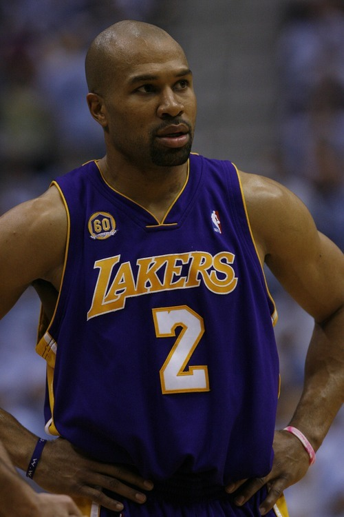 Salt Lake City, UT --5/9/08-- Los Angeles Lakers' Derek Fisher #2 during the second half of the game at the EnergySolutions Arena. The Jazz won the game 104-99.  ********************  Jazz vs Lakers Game 3   Photo by Chris Detrick/The Salt Lake Tribune frame #_1CD6166