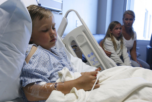 Francisco Kjolseth     The Salt Lake Tribune Six-year-old Cody Grundstrom is recovering at Primary Children's Medical Center after nearly drowning in the Fremont River in southern Utah.
