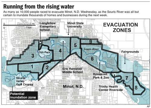 Map of Minot, N.D. shows areas threatened with flooding by the rising Souris River; with evacuation zones and select locations