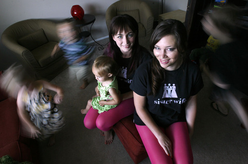 Francisco Kjolseth  |  The Salt Lake Tribune La Daynas Arellano, left, holding her daughter Evelyn, 1, and Crystal Walker -- aka Team Sister Wives -- have been vying for a spot on CBS's