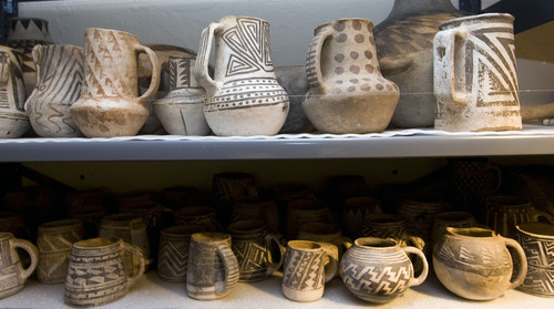 Al Hartmann  |  Tribune file photo Anasazi pots stored at Edge of the Cedars State Park Museum near Blanding.