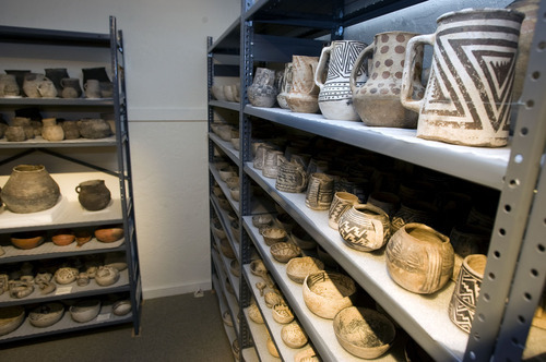 Al Hartmann  |  Tribune file photo Anasazi pots stored at Edge of the Cedars State Park Museum.