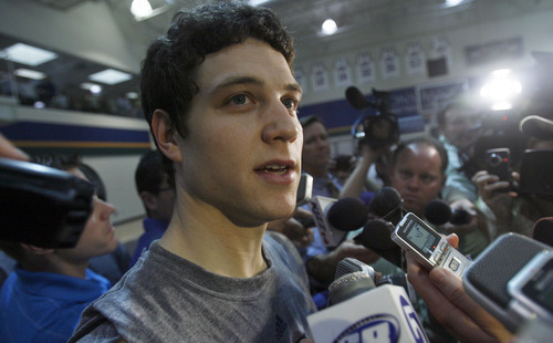 Francisco Kjolseth  |  The Salt Lake Tribune Brigham Young guard Jimmer Fredette speaks with the media following a workout with the Utah Jazz on Wednesday, June 15, 2011, at their practice facility in Salt Lake City.