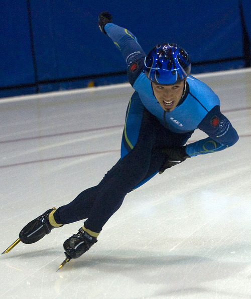 Al Hartmann  |  The Salt Lake Tribune Michael Hubbs is a deaf speed skater who is an Olympic hopeful. He practices at the Olympic Speed Skating Oval in Kearns.