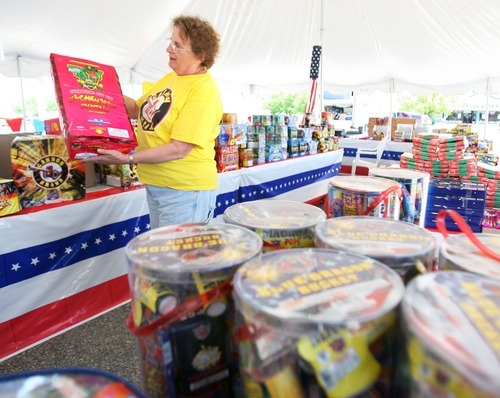 Steve Griffin  |  The Salt Lake Tribune Leslie Watson holds up one of the new fireworks, called