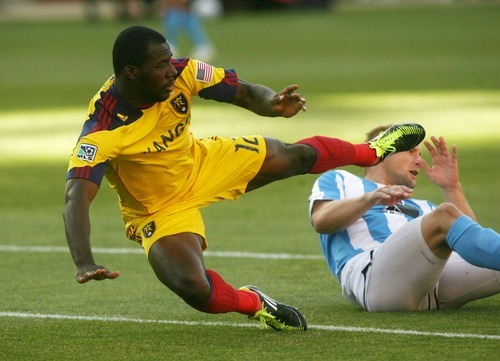Steve Griffin  |  The Salt Lake Tribune Real Salt Lake's Jean Alexandre gets tripped up in the box by Wilmington's Gareth Evans at Rio Tinto Stadium on Tuesday.