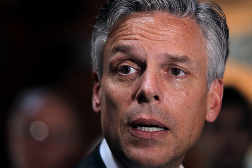 File Photo  |  The Salt Lake Tribune Former Utah Gov. Jon Huntsman dropped into Utah in June for a couple of fundraisers, including one at the Huntsman Cancer Institute. Despite low national poll numbers he points to a better showing in New Hampshire, where he is focusing his campaign.