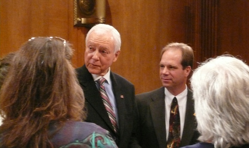 Matt Canham  |  Tribune file photo Sen. Orrin Hatch, shown here meeting with some tea party activists from Utah, recently voted against extending the No Child Left Behind Act -- an education reform that he praised when it was pushed into law by President George W. Bush. Now Hatch says the law hasn't worked out. It was one of four votes he has backed away from following criticism by the tea party.