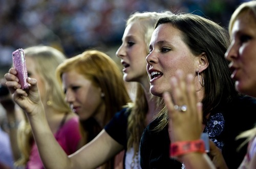Djamila Grossman  |  The Salt Lake Tribune  Fans cheer as David Archuleta performs during the Stadium of Fire event in honor of the Fourth of July at Lavell Edwards Stadium in Provo, Utah, on Saturday, July 2, 2011.
