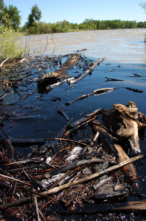 Oil from a ruptured ExxonMobil pipeline is seen in the Yellowstone River and along its banks near Laurel, Mont., Saturday July 2, 2011. The pipeline break was contained early Saturday morning but the spill stretched over dozens of miles. (AP Photo/Matthew Brown)