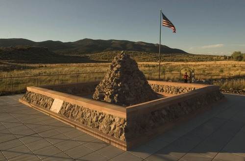 Tribune file photo The monument near the site of the 1857 Mountain Meadows Massacre. American Indian spiritual leaders held a weeklong healing ceremony at the site of the massacre.