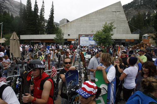 Rick Egan   |  The Salt Lake Tribune  Summer skiers crowd the plaza at Snowbird as they wait in line for Breakfast and and an even longer line to ride the Tram, as skiers enjoyed the holiday on the slope at Snowbird, Monday, July, 4, 2011