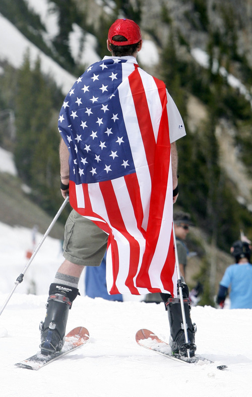 Rick Egan   |  The Salt Lake Tribune  The stars and stripes were a popular accesorie as skiers enjoyed the holiday on the slope at Snowbird, Monday, July, 4, 2011