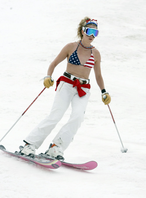 Rick Egan   |  The Salt Lake Tribune  The stars and stripes were popular as skiers enjoyed the holiday on the slope at Snowbird, Monday, July, 4, 2011