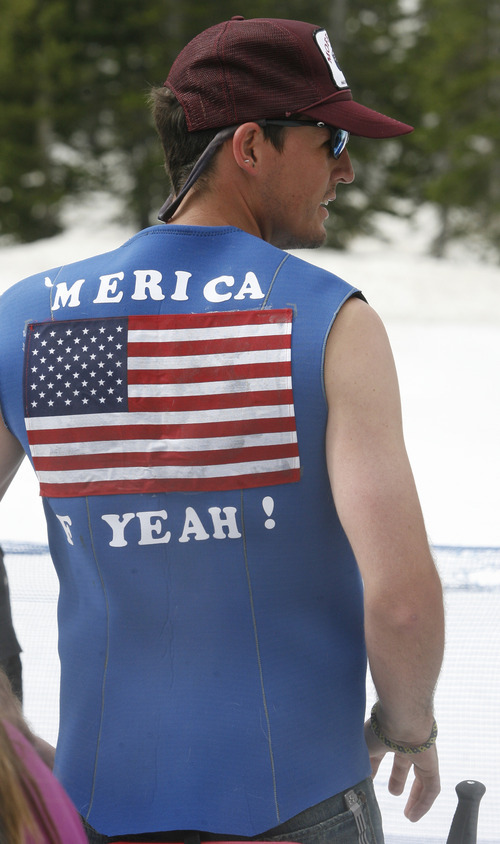 Rick Egan   |  The Salt Lake Tribune   American Flags were a popular as skiers enjoyed the holiday on the slope at Snowbird, Monday, July, 4, 2011