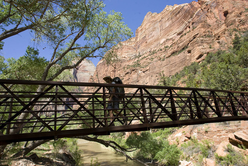 Zion National Park will turn 100 year old  this Summer.  Zion was established as Makuntaweap National Monument on July 31, 1909 by President William Taft.    A hiker crosses bridge across Virgin River near the Grotto.  Hiking can be as easy or challenging as you make it in the park from a hundred yard walk to multiple day backpack trips in the back country.     Al Hartmann/The Salt Lake Tribune     5/15/2009