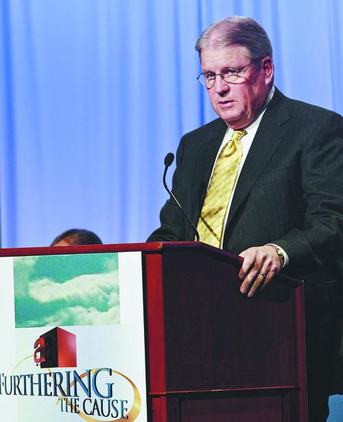 Rick Egan   |  The Salt Lake Tribune  President and CEO Richard Parkinson speaks at The Associated Food Stores 71st annual shareholder meeting at the Grand America Hotel in Salt Lake City, Thursday, June 23, 2011.