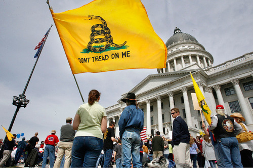 SCOTT SOMMERDORF  |  Tribune file photo Tea party members gather at the Sate Capitol last year. The movement had a big impact on the 2010 election and they are seen as a key factor going into 2012, as well. Sen. Orrin Hatch is working hard to resolve his acknowledged tea party problem.