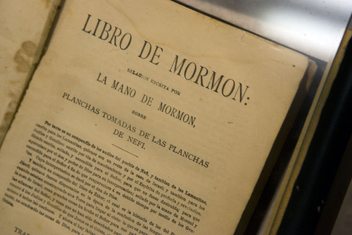 Al Hartmann  |  The Salt Lake Tribune A copy of the Book of  Mormon published in Spanish as