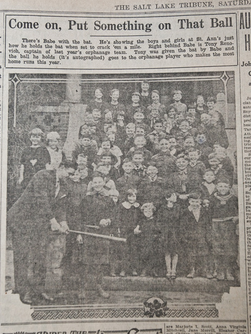 In this photo taken from the sports page of the Jan. 30, 1927 edition of The Tribune, Babe Ruth is shown posing with the boys and girls on the steps of what was then the Kearns-St. Ann's Orphanage demonstrating how to grip a bat