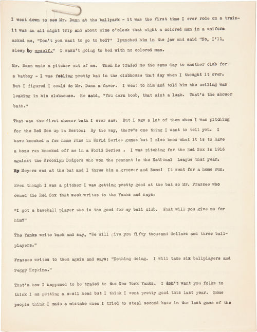 A copy of the monologue Babe Ruth delivered on the 1927 vaudeville tour that brought him to Salt Lake City was sold for $717 in a 2010 online auction. Ruth performed in 12 cities on the Pantages Theatre circuit in 1927, the last of which was Salt Lake from Jan. 25 to to Feb. 2. (Courtesy Heritage Auctions)