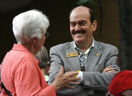 Rick Egan   |  The Salt Lake Tribune  Linda Burbidge Gardner (left) Salt Lake City, chats with R. Scott Phillips, Executive Director of the Utah Shakespeare Festival, in Cedar City, Friday, July 8, 2011