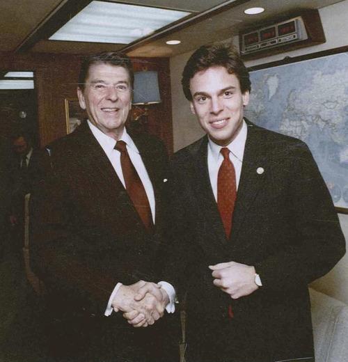 Jon Huntsman Jr. got an early start in politics -- as an assistant to President Ronald Reagan. Courtesy Image