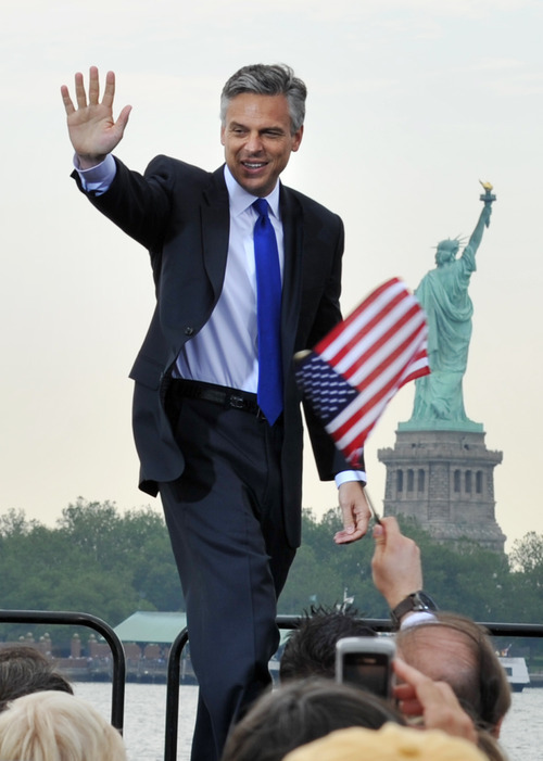 Former Utah Governor, Republican Jon Huntsman takes the stage just before he announces that he will run for the US presidency June 21, 2011 at Liberty State Park in Jersey City, New Jersey.  AFP PHOTO/Stan HONDA (Photo credit should read STAN HONDA/AFP/Getty Images)