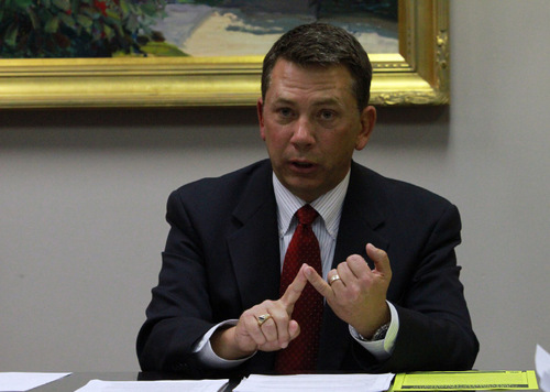 Rick Egan   |  Tribune file photo Rep. Stephen Sandstrom, R-Orem, said he is open to negotiations on a way to keep Utah's guest-worker law on the books in exchange for passage of tough employer sanctions for companies hiring undocumented workers.
