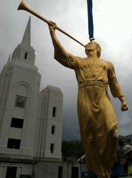 Djamila Grossman | The Salt Lake Tribune  A view of the angel Moroni before it is hoisted atop the LDS Temple in Brigham City on Tuesday, July 12, 2011.