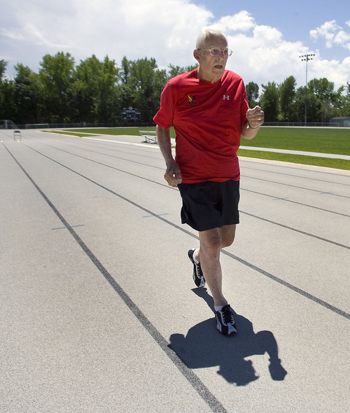 Al Hartmann  |  The Salt Lake Tribune Ted Belknap, 90, is training to run the 50-meter-dash at the Huntsman Games this summer.   He nears the finish line in 95-degree heat on Highland High School track during his one practice sprint.