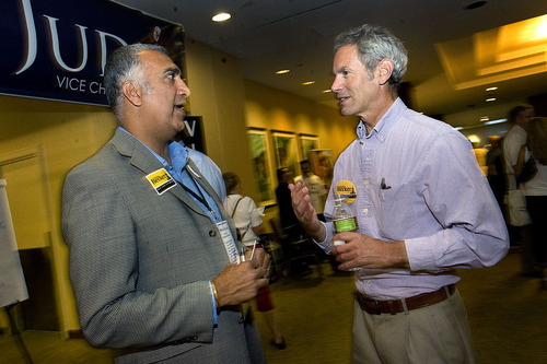 Scott Sommerdorf  |  The Salt Lake Tribune Salt Lake County District Attorney Sim Gill, left, speaks with Salt Lake Mayor Ralph Becker in a hallway at the Democratic convention.