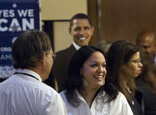 Scott Sommerdorf  |  The Salt Lake Tribune Utah Senator Luz Robles, D,-Salt Lake City, speaks with supporters.