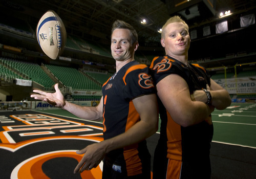 Al Hartmann   |  The Salt Lake Tribune  Brothers Aaron, left, and Jason Boone play for the Utah Blaze.   They grew up together in Fillmore where they both played high school football.