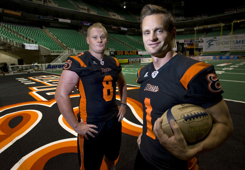 Al Hartmann   |  The Salt Lake Tribune  Brothers Jason, left, and Aaron Boone play for the Utah Blaze.   They grew up together in Fillmore where they both played high school football.