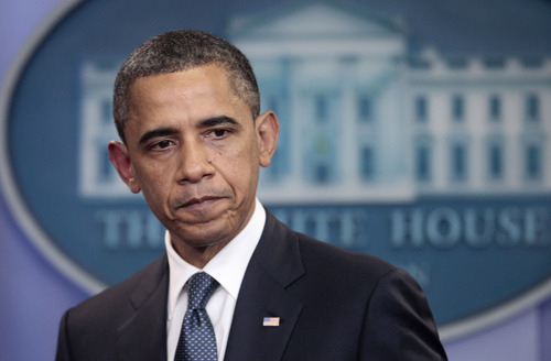 President Barack Obama discusses the continuing budget talks, Tuesday, July 19, 2011, in the the briefing room of the White House in Washington. (AP Photo/Pablo Martinez Monsivais)