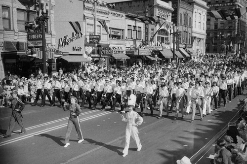Tribune file photo  A marching made up of musicians from a variety if high schools performs in the 1947 Days Of '47 Parade.