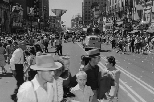 Tribune file photo  Huge crowds gather to watch the Days of '47 Parade on July 24, 1947.